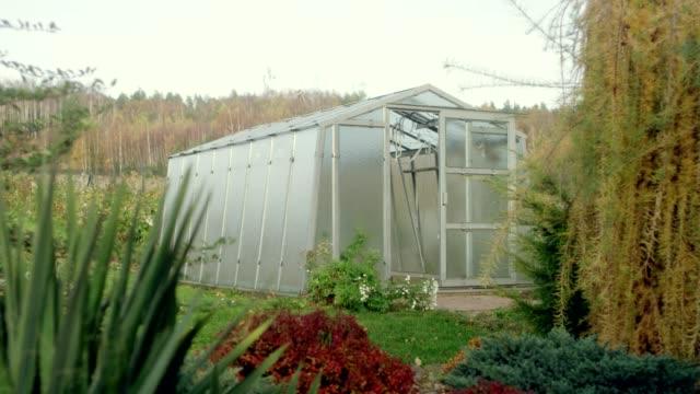 Autumn season Greenhouse in the garden