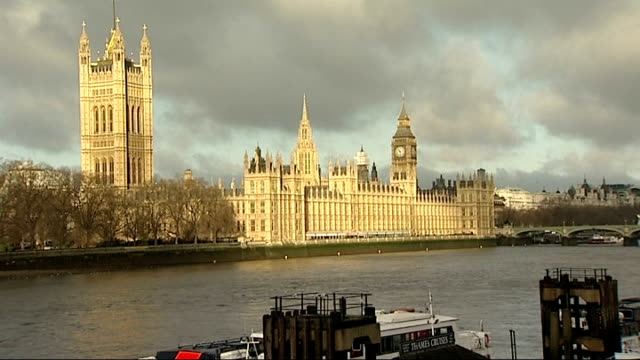 vídeos y material grabado en eventos de stock de autumn statement 2012; ext sun seen through bare branches of tree houses of parliament seen across river people dressed in winter clothes crossing... - bare tree