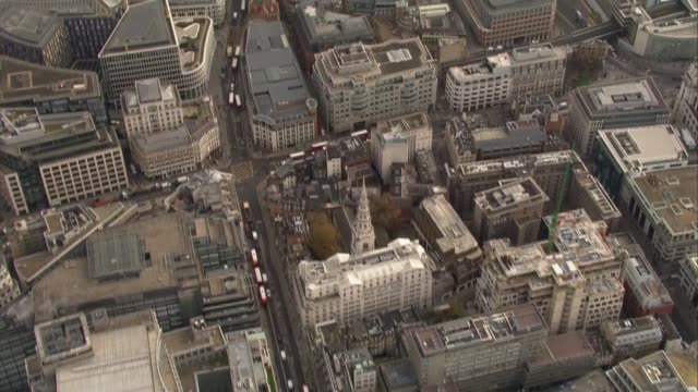 air views of westminster england london views the city / old bailey and lady justice statue on top / city buildings including gherkin cheesegrater... - statue of justice london stock videos and b-roll footage