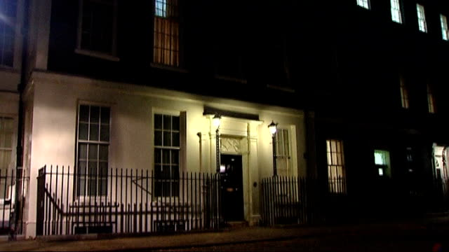 general view of 11 downing street at night close shot of number 11 on door - number 11 stock videos and b-roll footage