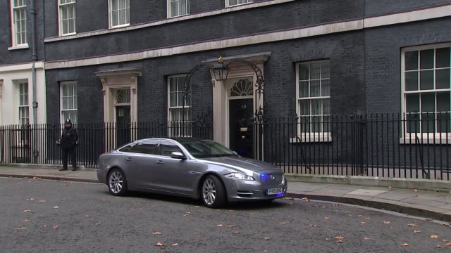 Theresa May and Philip Hammond departure ENGLAND London Downing Street EXT Larry the cat in Downing Street/ Theresa May MP departs Number 10/ Number...