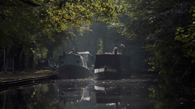 autumn sunny morning on british canal - canal stock videos & royalty-free footage