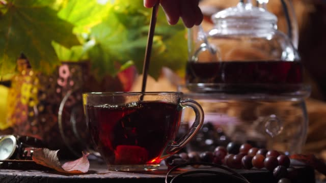 autumn tea - tea cup stock videos & royalty-free footage
