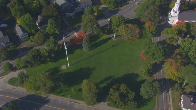 ws aerial pov autumn tree covered small town / lexington, massachusetts, united states - lexington massachusetts stock videos & royalty-free footage