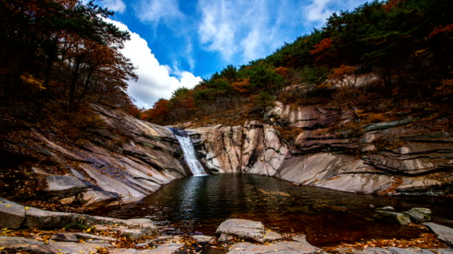 autumn view of eoreumgol valley (designated as natural monument no.224 in korea) - schwenk stock-videos und b-roll-filmmaterial