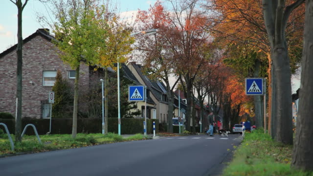 (crane) autumn village - gasse stock-videos und b-roll-filmmaterial