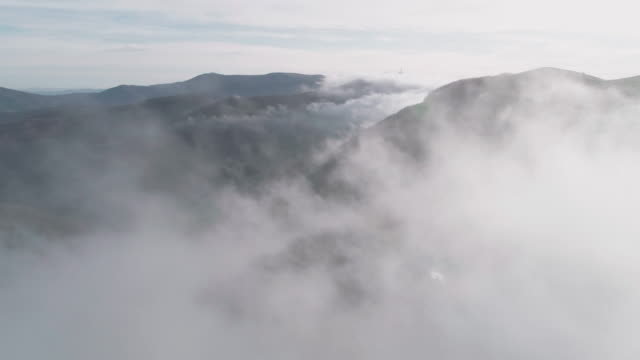 autumn's aerial view. nature and cloudscape. mist and fog all around creating simplicity in the landscape. - mindfulness stock videos & royalty-free footage