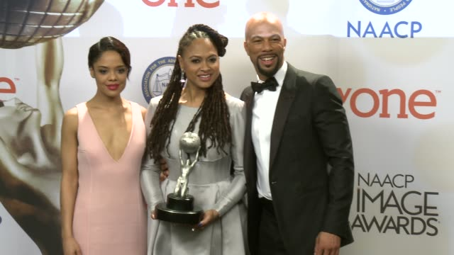 stockvideo's en b-roll-footage met ava duvernay common and tessa thompson at the 46th annual naacp image awards press room at pasadena civic auditorium on february 06 2015 in pasadena... - pasadena civic auditorium