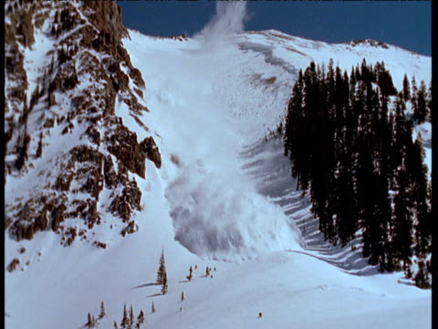 Avalanche flow descends down mountain side and engulfs camera