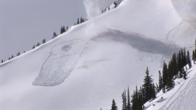 WS ZI PAN TD Avalanche of snow exploding and flowing down over rock mountain side / Revelstoke, British Columbia, Canada