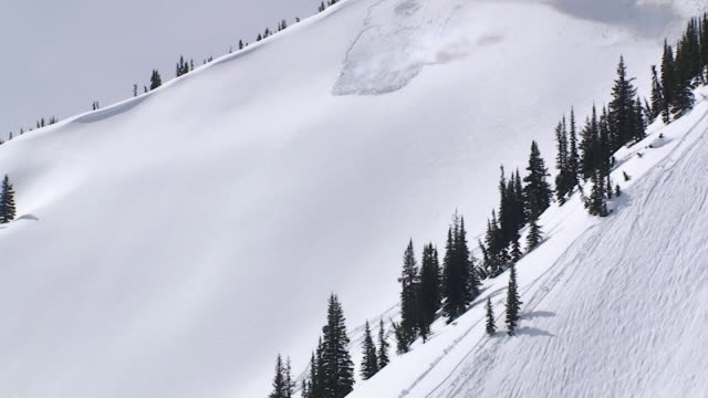 ws avalanche of snow flowing down over rock mountain side / revelstoke, british columbia, canada - avalanche stock videos and b-roll footage