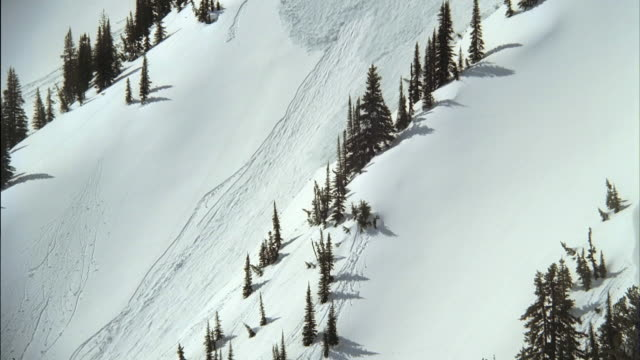 ws td pan avalanche rolling down mountain slope / juneau, alaska, usa - avalanche stock videos and b-roll footage