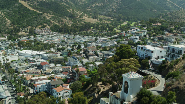 avalon, catalina on sunny morning - aerial view - channel islands california stock videos & royalty-free footage