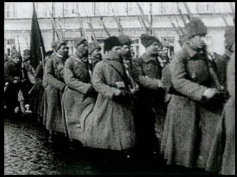 avant garde film depicting vladimir lenin's life and death and the different people of russia - marciare video stock e b–roll