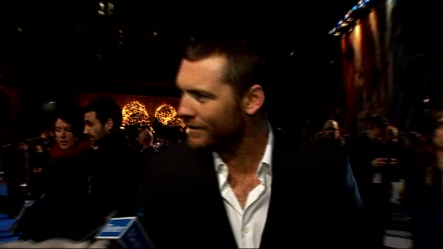 'Avatar' film premiere in London's Leicester Square interviews on the 'blue carpet' General views Sam Worthington speaking to press on blue carpet...