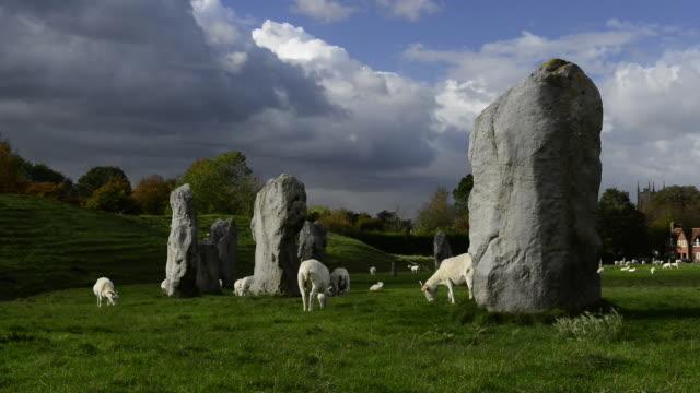 avebury prehistoric stone circle. - avebury stock videos & royalty-free footage