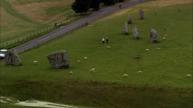 avebury ring  - aerial view - england, wiltshire, avebury, united kingdom - avebury stock videos & royalty-free footage