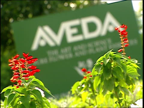 aveda sign and red flowers in minnesota - weichzeichner stock-videos und b-roll-filmmaterial