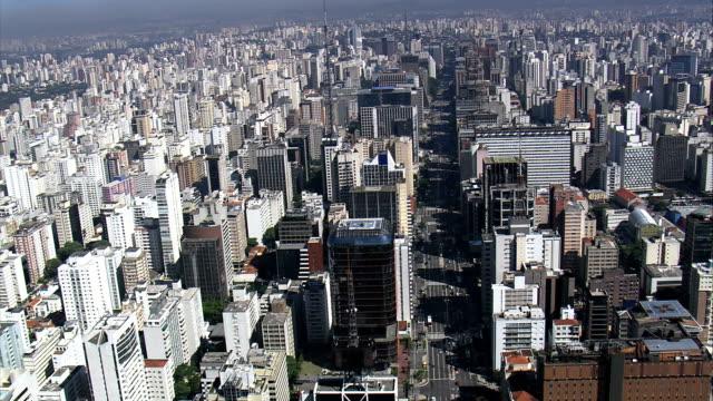 avenida paulista  - aerial view - são paulo, são paulo, brazil - são paulo stock videos and b-roll footage