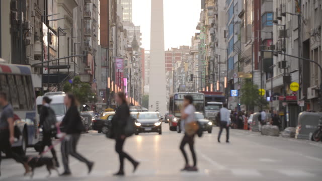 avenido corrientes and obelisco - pedestrian crossing stock videos & royalty-free footage