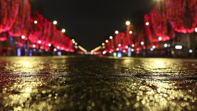 avenue des champs-élysées, the night without a car - 金箔点の映像素材/bロール