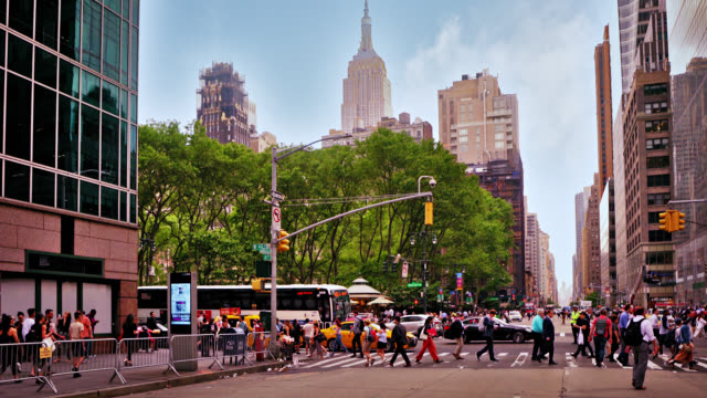 avenue new york. street. pedestrian. empire state building. famous place. - eastern usa stock videos & royalty-free footage