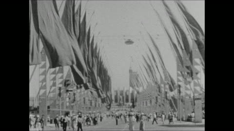 avenue of flags and the hall of science at the 1933 chicago world's fair - world's fair stock videos & royalty-free footage