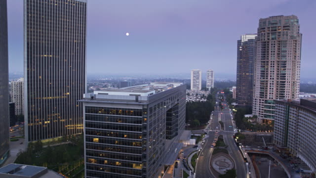 avenue of the stars and century plaza, century city, los angeles - drone shot - century city stock-videos und b-roll-filmmaterial