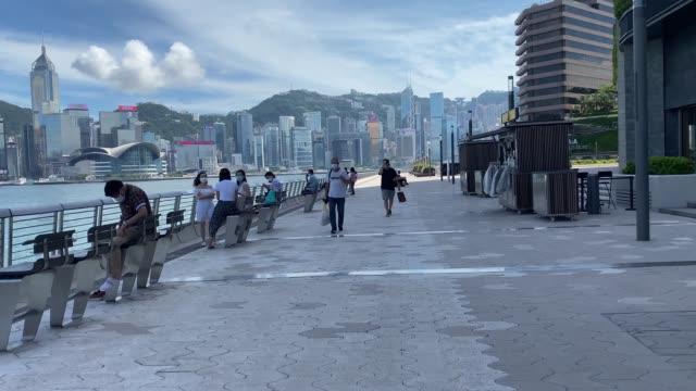 avenue of the stars tsim sha tsui promenade tsim sha tsui 21st july 2020 - tsim sha tsui stock videos & royalty-free footage