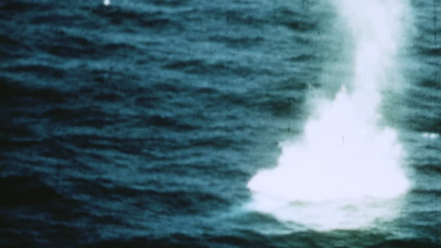 avenuger dropping torpedo explosion strafing attacks on ground targets smoke rising from shore installations / philippines - 武力攻撃点の映像素材/bロール