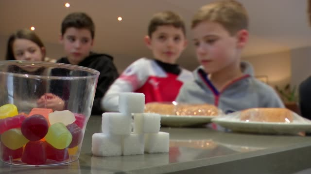 average 10yearold child 'has consumed 18 years' worth of sugar' england london golders green int various shots of nutritionist julia wolman teaching... - nutritionist stock videos and b-roll footage