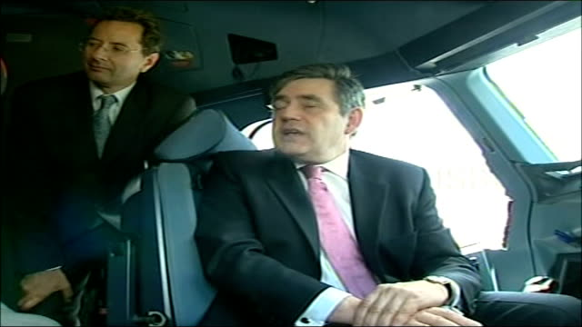 airbus a380 lands at heathrow airport for first time int low angle shot of gordon brown mp as sits in cockpit gordon brown mp interview sot efficient... - airbus stock-videos und b-roll-filmmaterial
