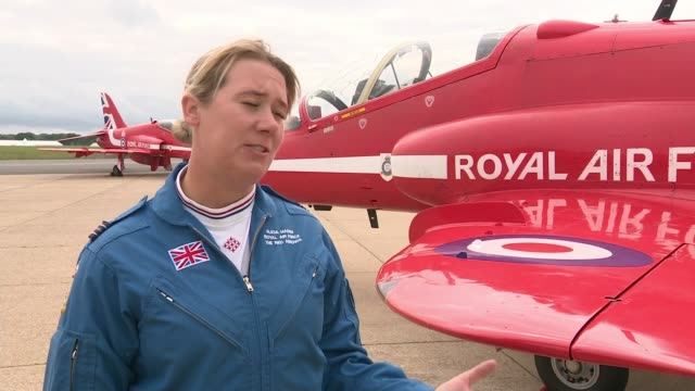 biggin hill festival of flight 2018 commemorates raf's 100th anniversary; england: london: london biggin hill airport: ext flt lt alicia mason... - biggin hill stock videos & royalty-free footage