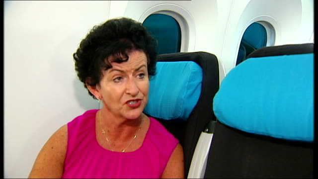 boeing 787 dreamliner touches down at farnborough airshow randy tinseth interview sot boeing 787 dreamliner stationary on runway rows of empty seats... - household fixture stock videos and b-roll footage