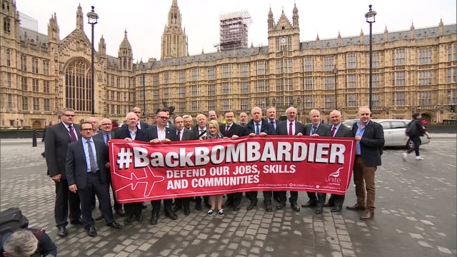 Bombardier wins in dispute with Boeing ENGLAND London Houses of Parliament EXT Bombardier workers and MPs photocall outside Houses of Parliament with...