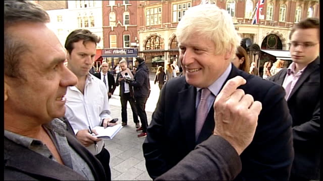 boris johnson's plans for new london airport rejected london sir howard davies interview sot boris johnson leaving global radio offices and stopping... - hands behind back stock videos and b-roll footage