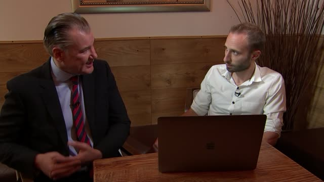 british airways chief executive to compensate those affected by data breach england london int rob shapland interview with reporter sot - data breach stock videos and b-roll footage