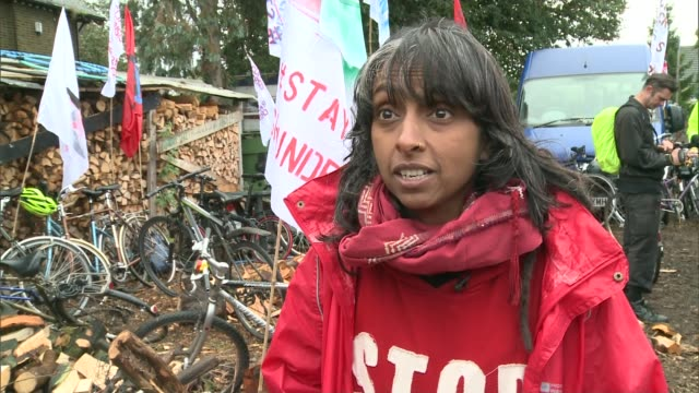 campaigners stage protest inside heathrow airport against expansion plans; sipson: ext various shots of protesters cycling along streets as part of... - christine taylor stock videos & royalty-free footage