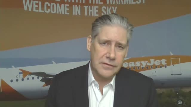 easyjet falls announces first ever fullyear loss england int johan lundgren 2 way interview via internet sot - itv lunchtime news stock videos & royalty-free footage