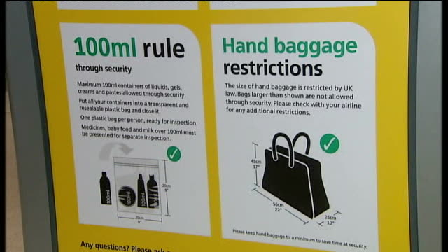 Hand luggage restrictions eased at Heathrow and Stanstead airports ENGLAND Location unknown INT Man along carrying baggage inside airport terminal...