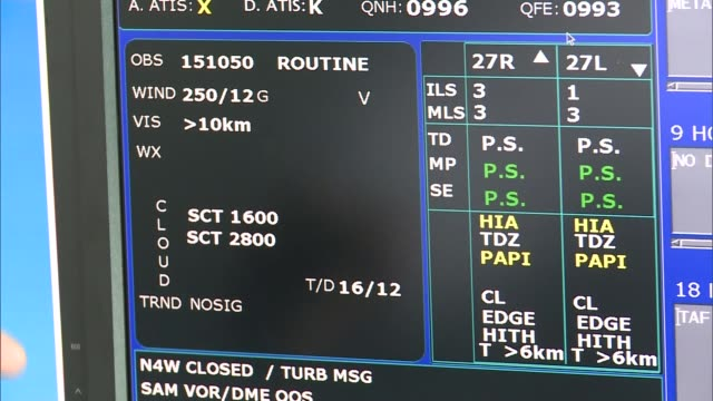 heathrow's air traffic controllers rely on hightech weather forecasts plane taking off close shot weather data on screen matthew burman interview sot - air traffic control stock videos & royalty-free footage