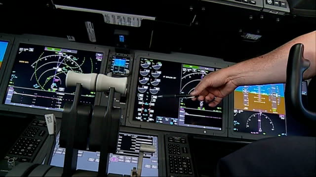 Norwegian Air launches budget flights to the USA In Flight Various of pilot and copilot sitting at flight deck controls in cockpit of Norwegian Air...
