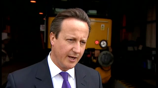 security tightened at british airports; england: cornwall: penzance: ext david cameron mp interview sot - we take these decisions looking at the... - ペンザンス点の映像素材/bロール