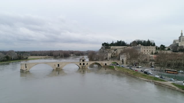 Avignon from Rhone, seen by drone