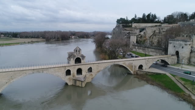 avignon from rhone, seen by drone - rhone river stock videos & royalty-free footage