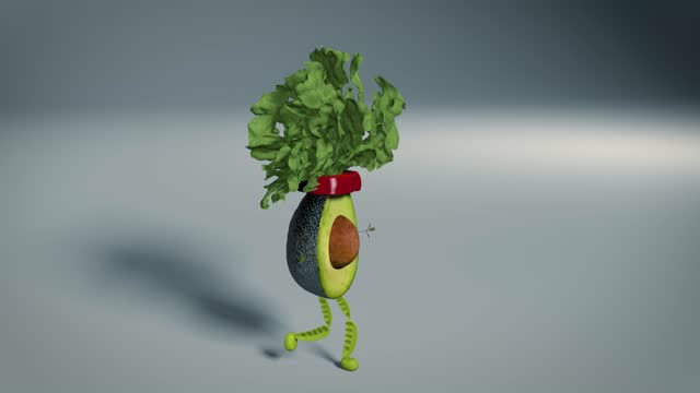 avocado with spinich head, green bean legs and watercress arms - animation moving image stock videos & royalty-free footage