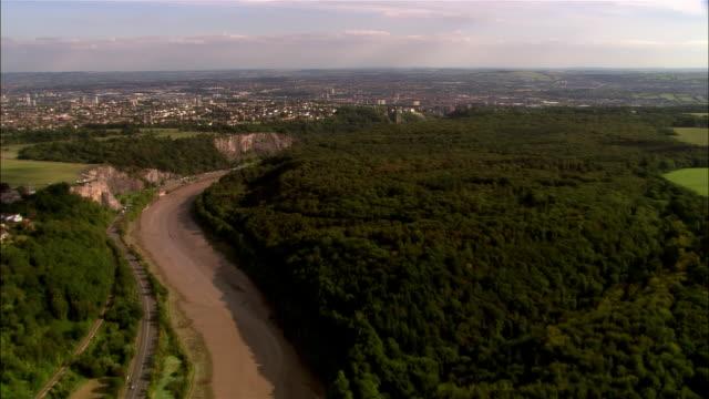 aerial, avon gorge, bristol, england - ravine stock videos & royalty-free footage