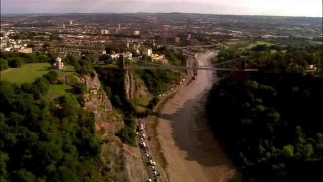 aerial, avon gorge, bristol, england - bristol england stock videos & royalty-free footage