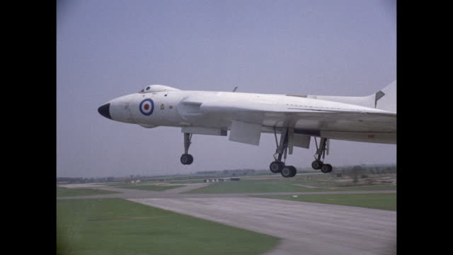 1959 raf avro vulcan jet taking off at waddington airfied - supersonic airplane stock videos and b-roll footage