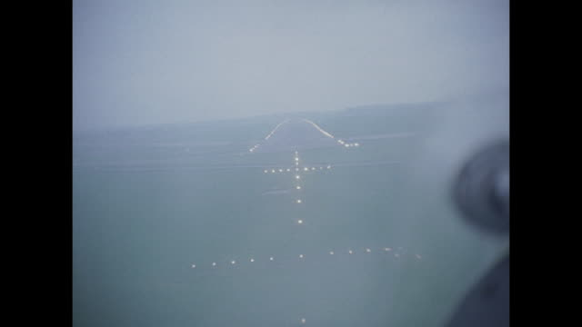 1959 raf avro vulcan pov landing in fog - aircraft point of view stock videos & royalty-free footage